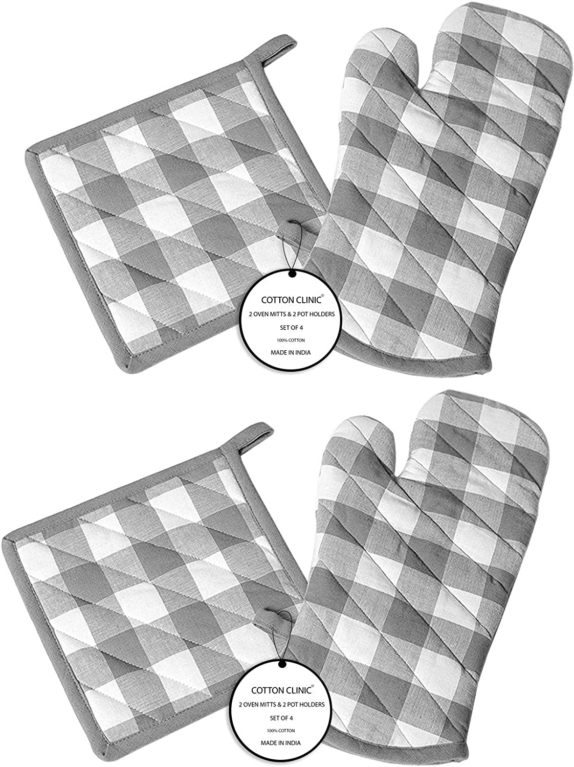 Cotton Clinic Gingham Buffalo Check 100% Cotton Oven Mitts Gloves and Pot Holder Set of 4, Heat Resistant for Everyday Kitchen Cooking Baking BBQ - Grey White