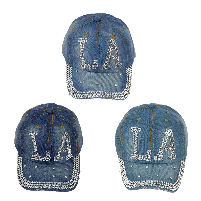 31b0c394d 24 Pack Wholesale LA Jewel Rhinestone Half Bling Studs Baseball Cap ...