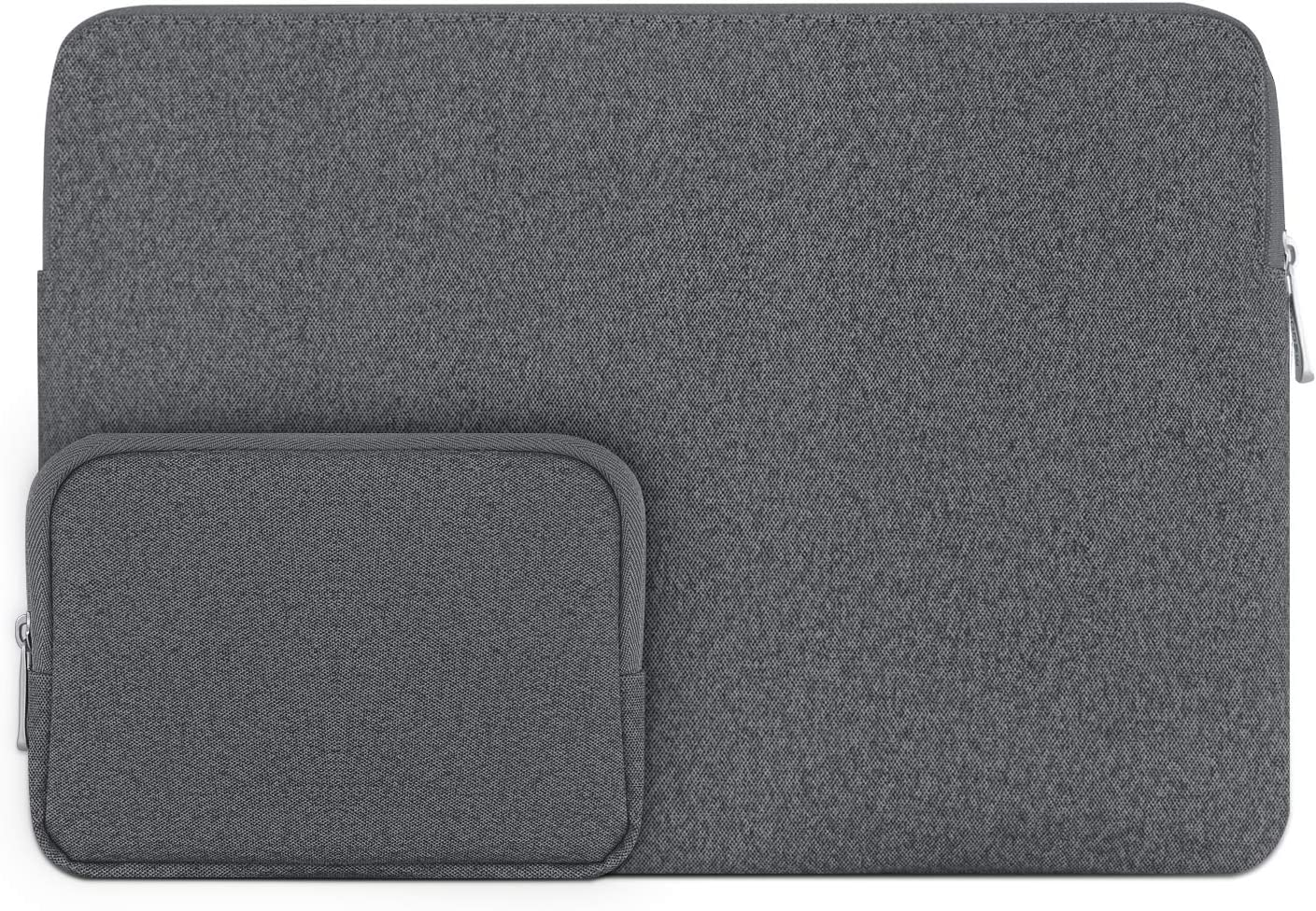 """Megoo 12Inch Slim Leather Sleeve Case Pouch Water Resistant for Surface Pro X/7/6/5/4/3 12.3"""" and Most 10-10.5-11-11.6-12 MacBook/iPad/Dell/Acer Chromebook Tablet Laptop (Dark Gray with Charger Case)"""