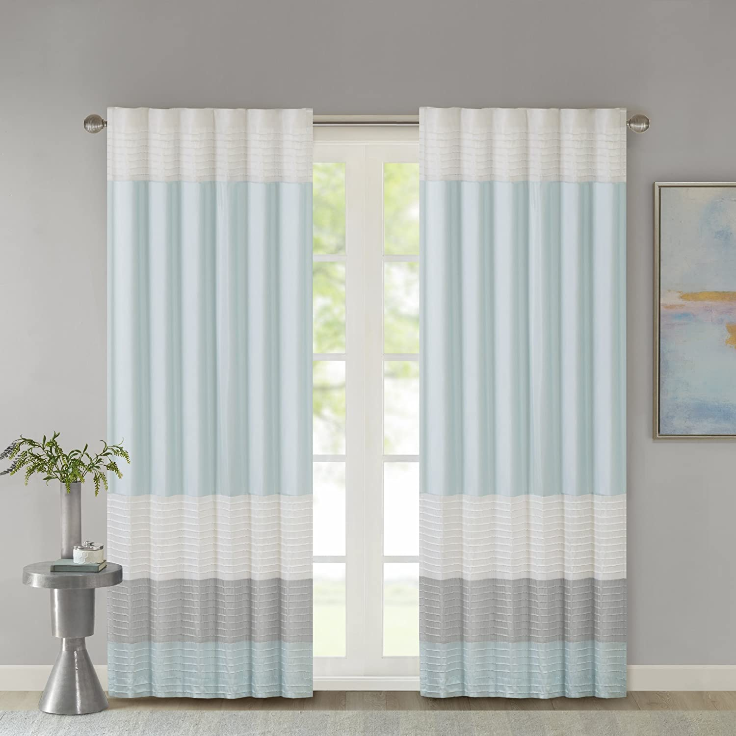 Madison Park Amherst Faux Silk Rod Pocket Curtain with Privacy Lining for Living Room, Window Drapes for Bedroom and Dorm, 50x84, Aqua