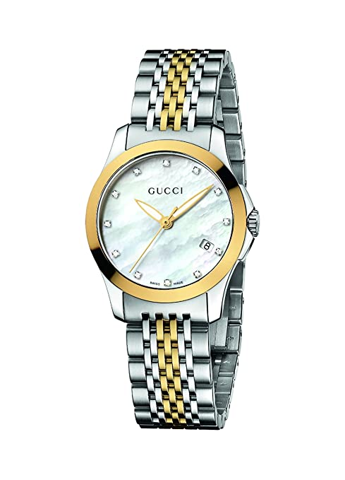 2d0ce0e510b Amazon.com  Gucci Women s YA126513 Gucci timeless Steel and Yellow PVD  White Dial Watch  Gucci  Watches