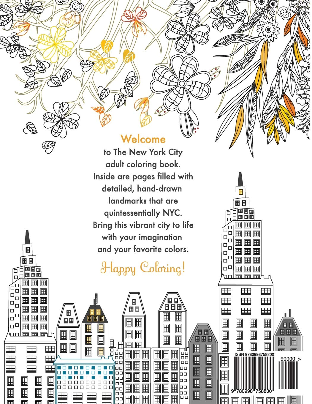 New York City Adult Coloring Book Tevi Woehl 9780998758800 Amazon Books