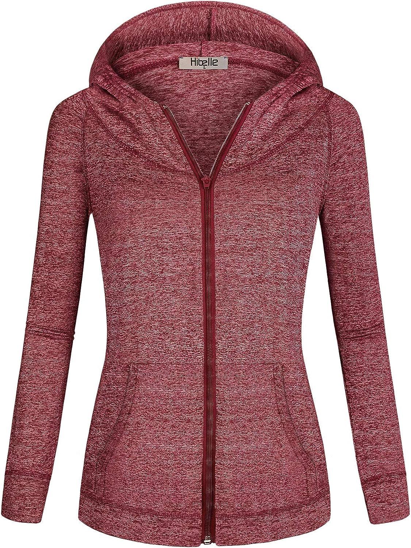 Hibelle Women's Full-Zip Fleece Lined Sports Hoodie Sweatshirts with Pockets