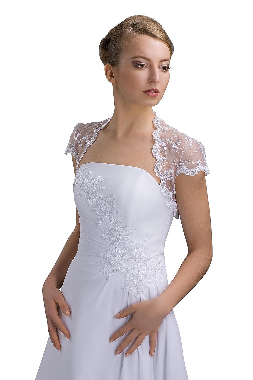 Braut Bolero für Brautkleid - kurzarm aus Tuell Spitze - E72: Amazon ...
