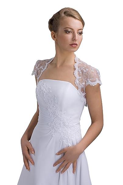Bolero para vestido de novia– de manga corta, de tul – E72 blanco marfil