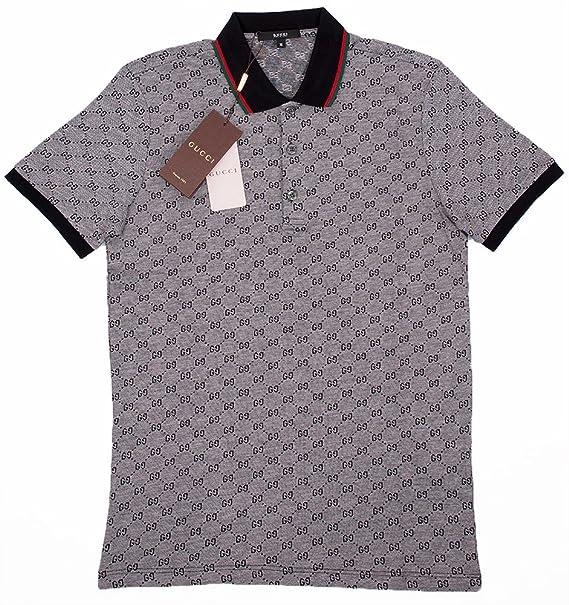 cf5b473ea Amazon.com: Gucci Polo Shirt, Mens Gray Short Sleeve Polo T- Shirt GG  Print: Clothing
