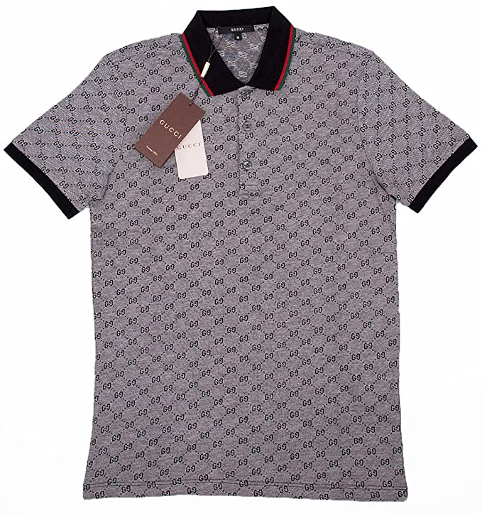424f5af5 Amazon.com: Gucci Polo Shirt, Mens Gray Short Sleeve Polo T- Shirt GG  Print: Clothing