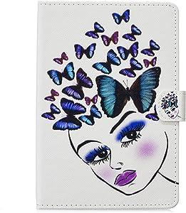Billionn iPad 9.7 Inch 2018/2017 Case, Kids Cute Slim PU Leather Soft TPU Inner, Stand Smart Cover Auto Wake/Sleep for Apple iPad 9.7 2018 / iPad 9.7 2017, Butterfly Girl-01