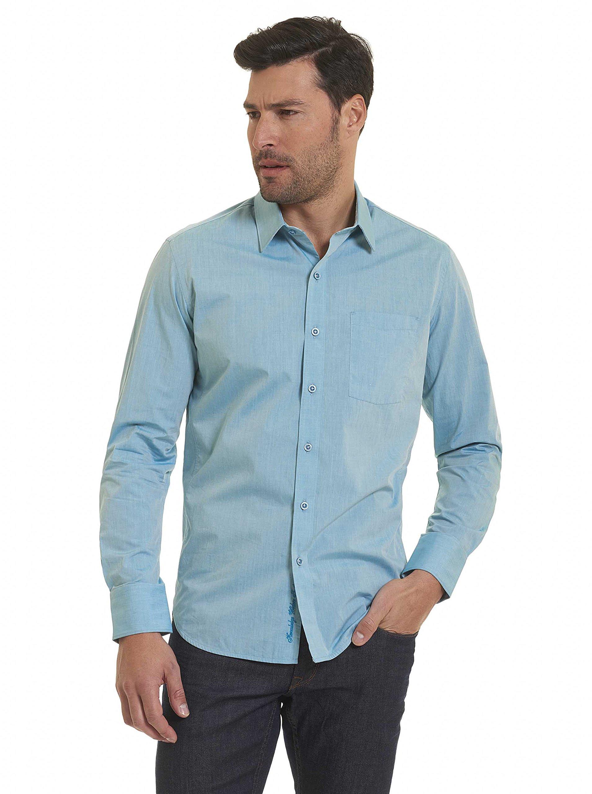 Robert Graham Groves Long Sleeve Woven Shirt Teal Large
