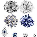 320 Pieces Evil Eye Charms Set Includes 100 Evil Eye Beads 20 Hand Evil Eye Charms 100 Czech Crystal Spacer Bead 100 Plum Sha