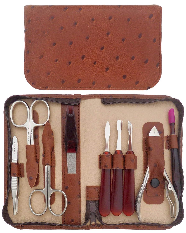 Set Manicure & Pedicure 9 Pezzi in Vera Pelle Nera Nappa con Cerniera - Tenartis 349 Made in Italy