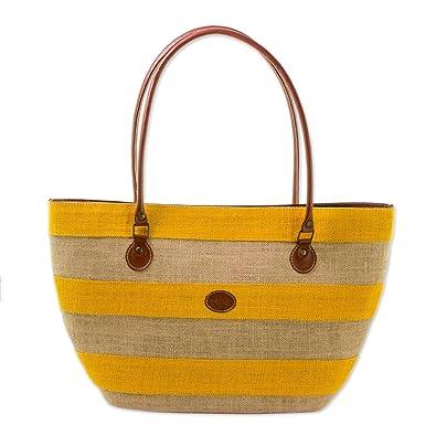 Novica Cotton and leather accent jute shoulder bag, Sea Beauty