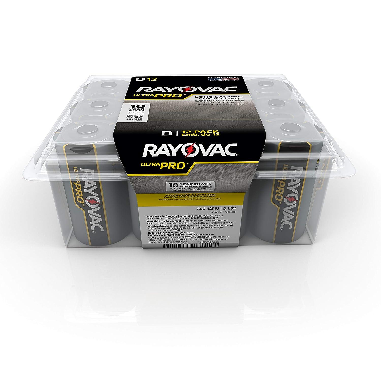 Rayovac Batteries ALD-12PPJ UltraPro Industrial Alkaline Battery, D Size, Standard, Black (Pack of 12)