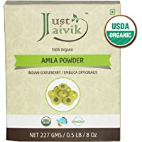 Just Jaivik 100% Organic Amla Powder - Certified Organic by OneCert Asia 227 gms/1/2 LB Pound/08 oz - Indian Gooseberry - Emblica Officinalis - (an USDA Organic Certified Herb)
