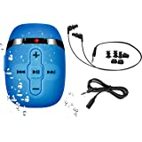 8GB swimming mp3 player with short cord headphones - (3 type underwater), one more audio extension cord for sort of sports,Shuffle feature -Blue
