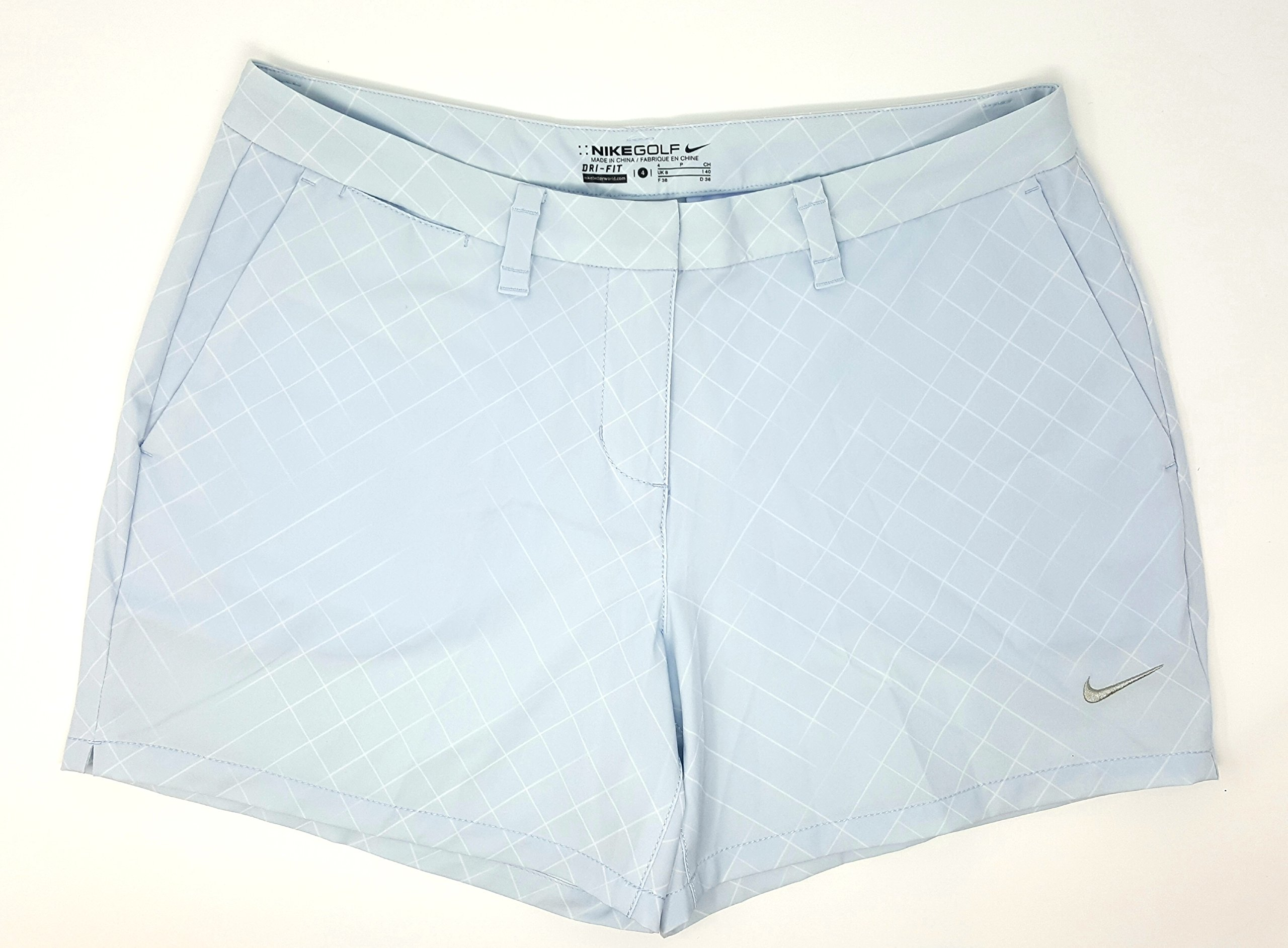 NIKE Women's Dri-fit Flex Print 4.5'' Golf Shorts (Size: 4) Light Ice Blue Grey/White