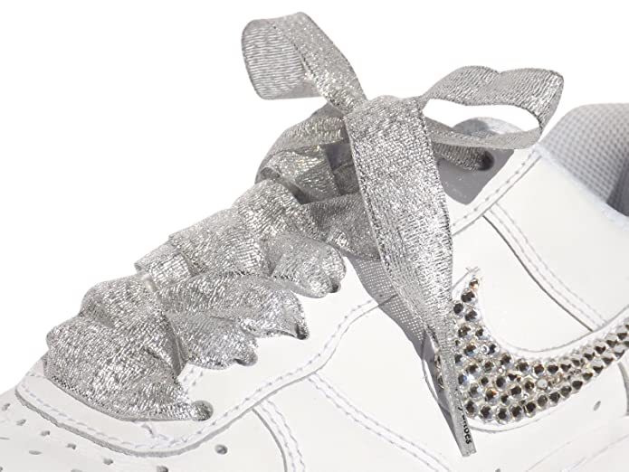 61fce089e6b558 Amazon.com  Sparkly Glitter Silver Ribbon Shoelaces for Kids Youths  Sneakers Pumps