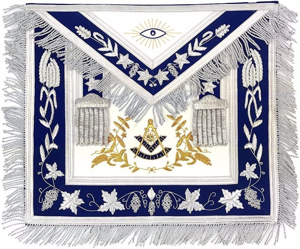 Gold Embroidery Masonic MASTER MASON Silver//Gold Handmade embroidery Apron Blue