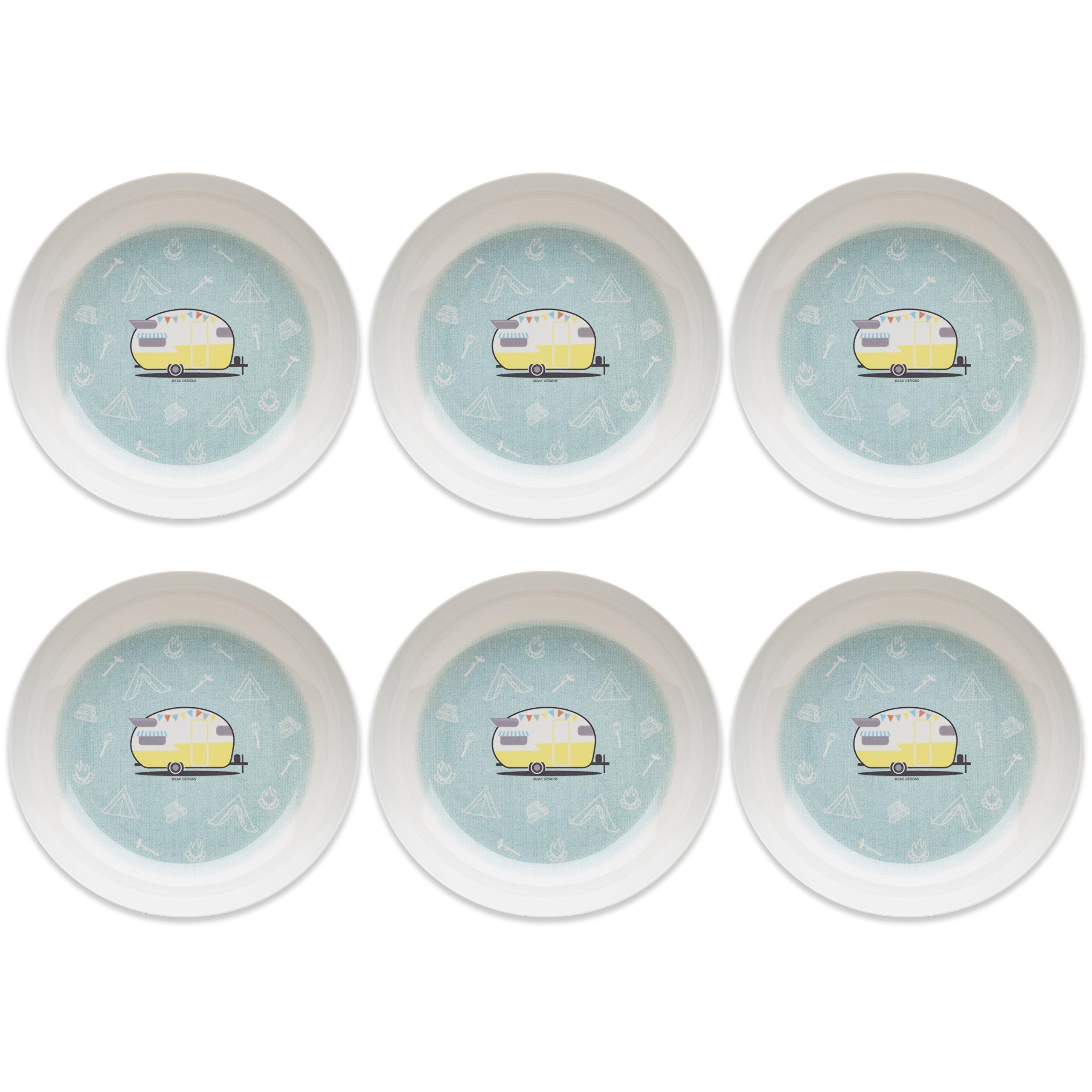 Zak Designs Adventurer 8-inch Melamine Bowls, Travel Trailer, 6 piece set