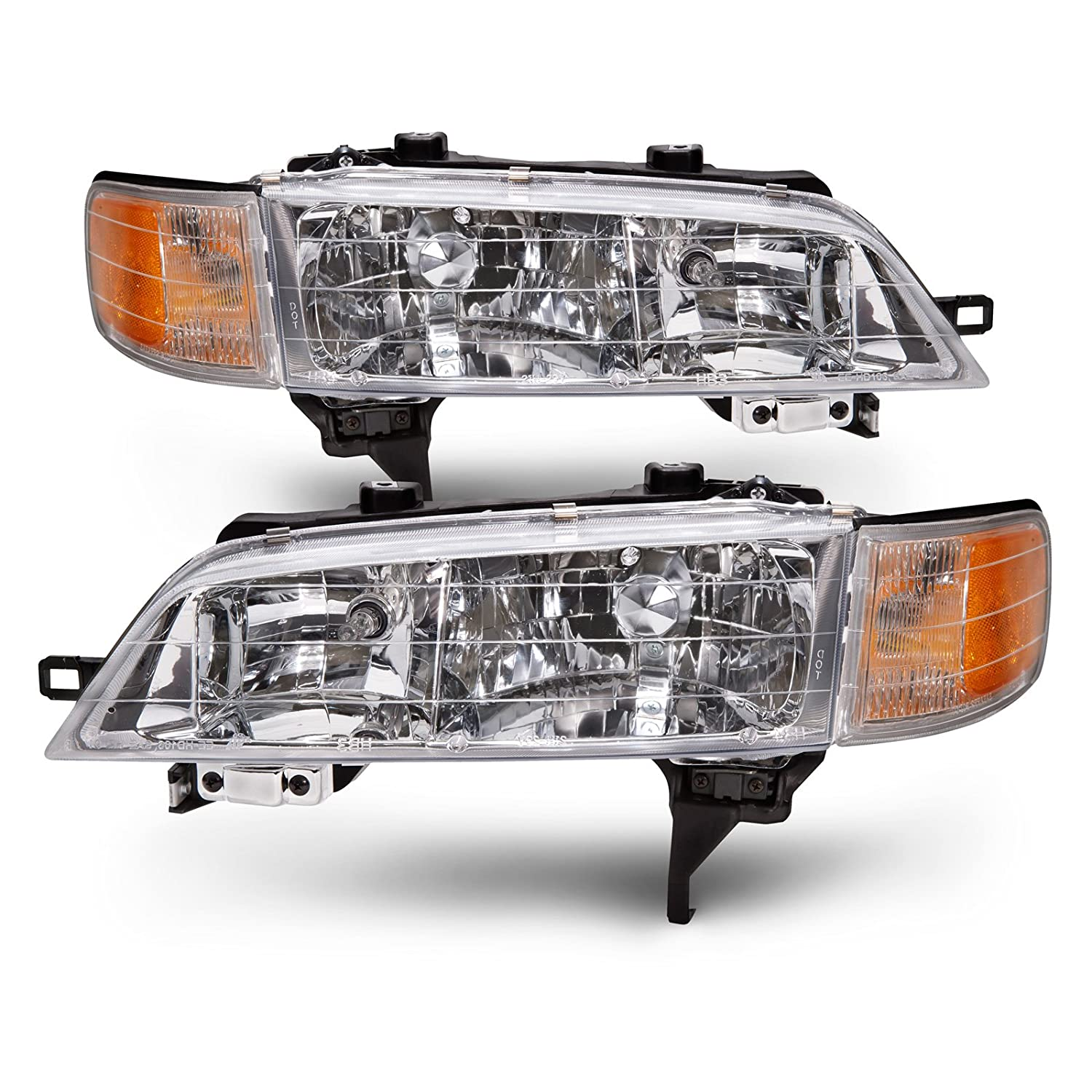 HEADLIGHTSDEPOT Chrome Housing Halogen Headlights Compatible with Honda  Accord 1994-1997 Includes Left Driver and Right Passenger Side Headlamps