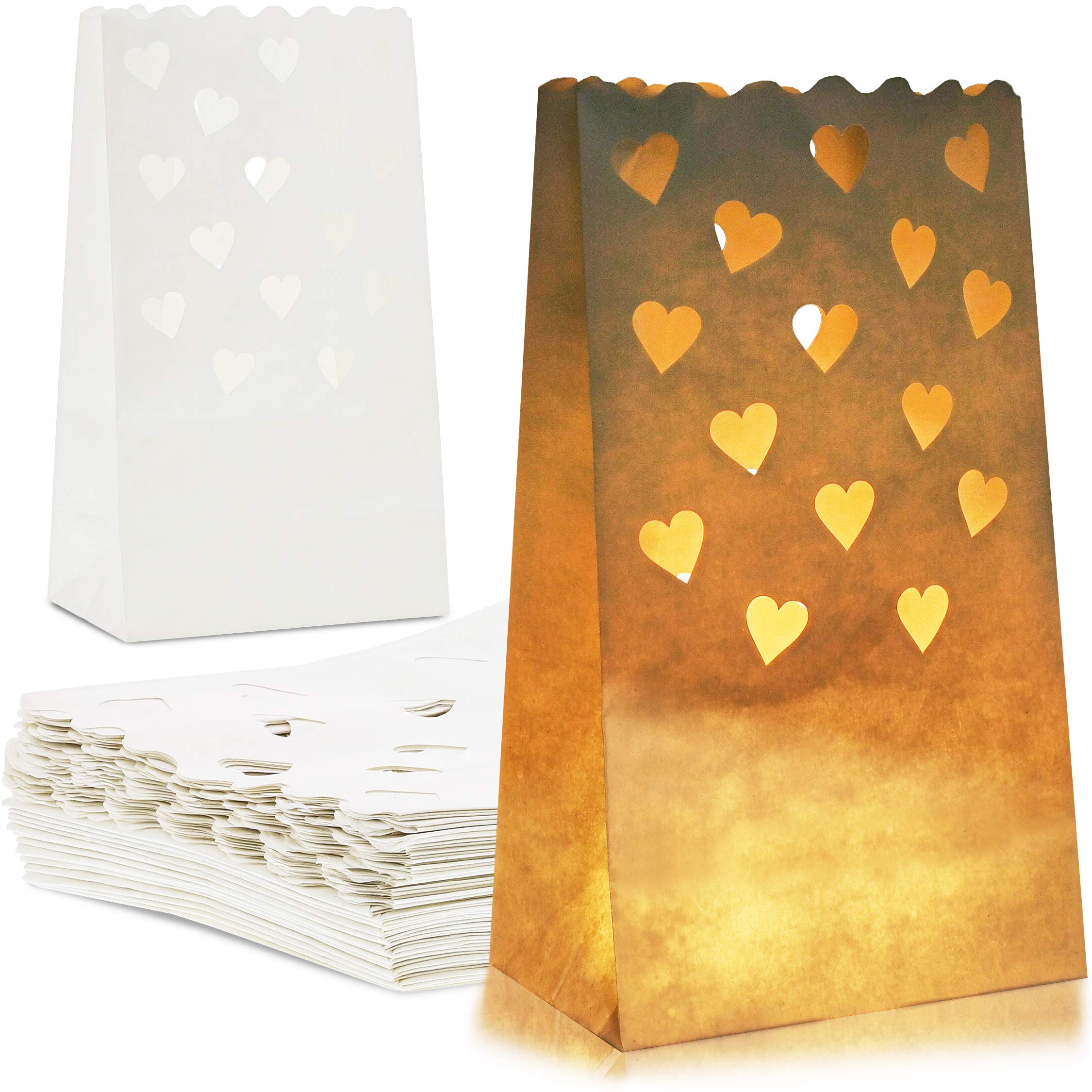 Juvale 48-Pack White Tea Light Candle Luminary Bags for Weddings, Party Decoration, 10 x 6 x 3.5 Inches by Juvale