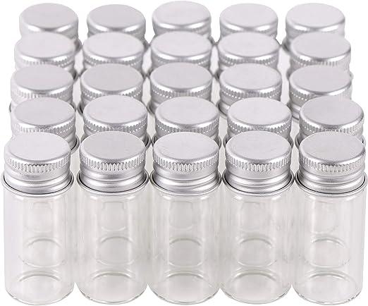 MaxMau 100 Sets Small Glass Bottles with Aluminum Cap Screw Top Lids 5 Milliliter Tiny Vials DIY Art Craft Storage