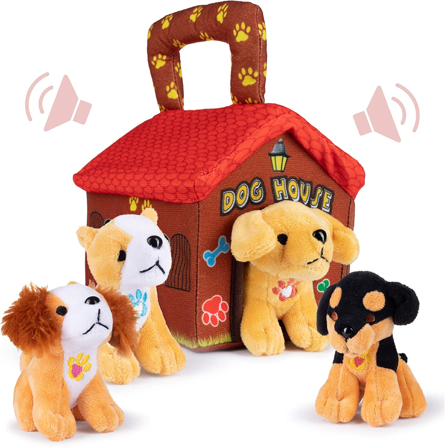 Plush Creations Plush Dog House Carrier with 4 Soft and Cuddly, Talking and Barking, Stuffed Plush Dogs. Excellent Interactive and Educational Plush