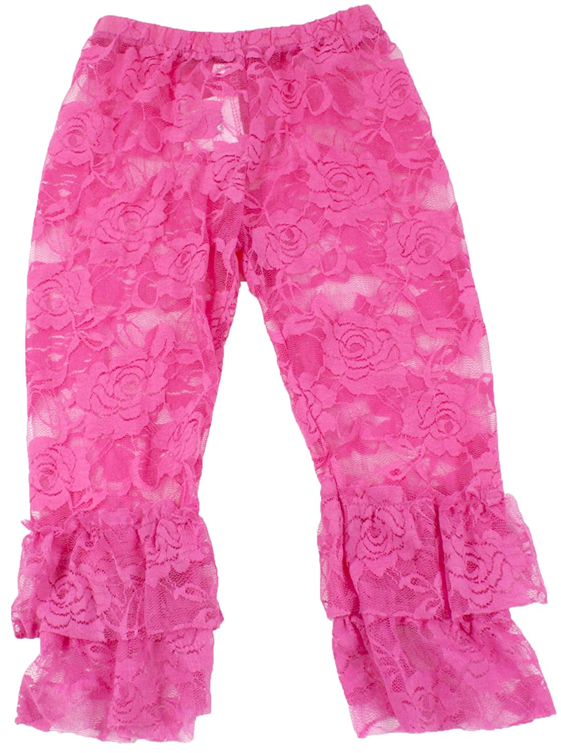 Ruffle Bottom Lace Leggings Infant , Hot Pink 12-24 Months