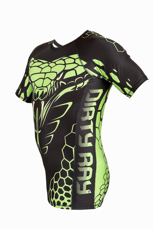 Dirty Ray Arts Martiaux Green Snake t-shirt de compression rashguard homme RG11