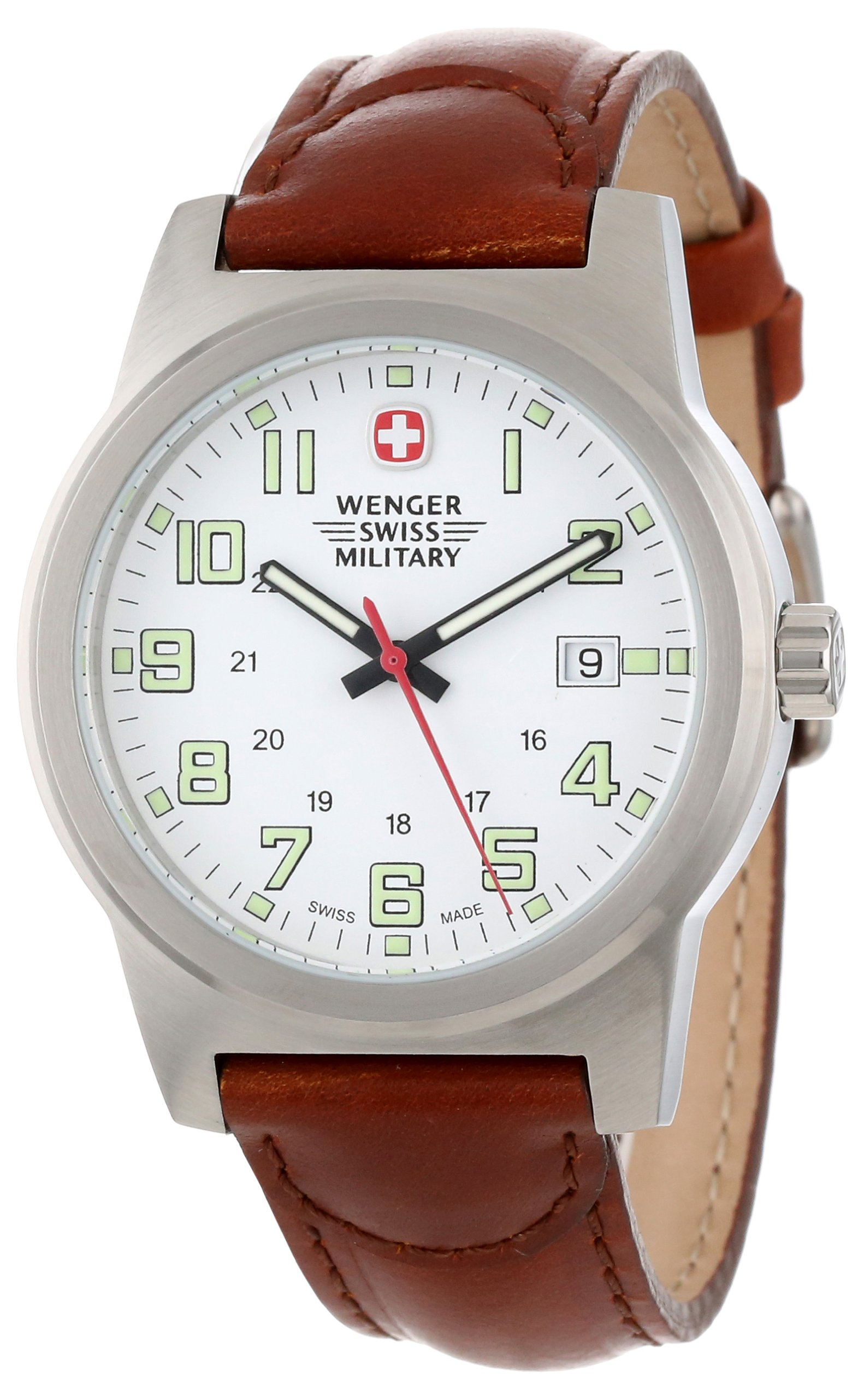 Wenger Swiss Military Men's 72900 Classic Field White Dial Brown Leather Military Watch