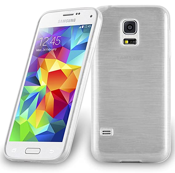 the latest 2bc8c db73a Cadorabo Case Works with Samsung Galaxy S5 Mini / S5 Mini DUOS in Silver –  Shockproof and Scratch Resistant TPU Silicone Cover – Ultra Slim ...