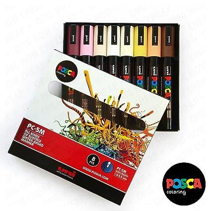 Amazon.com: POSCA Colouring - PC-5M Skin Tone Set of 8 - In Gift Box