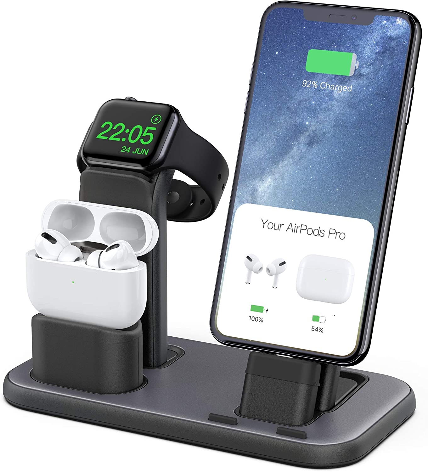 Beacoo 3 in 1 Charging Stand Compatible with iWatch Series 6/5/4/3/2/1, AirPods Pro 1/2 and iPhone 11/Pro/Xs/X Max/XR/X/8/8Plus/7/7 Plus /6S /6S Plus(Charger & Cables Required)