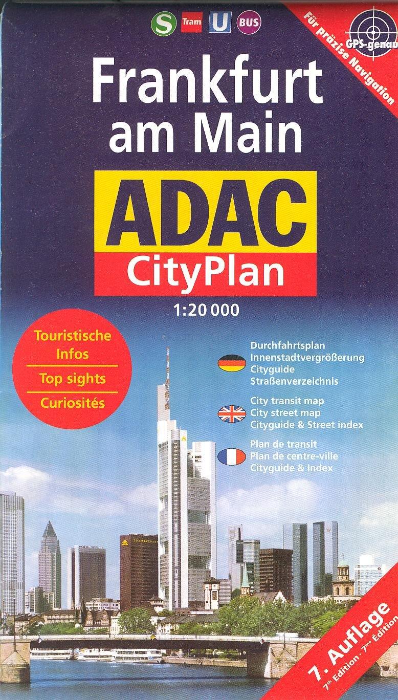 Frankfurt am Main (Germany) 1:20,000 Pocket Street Map ADAC