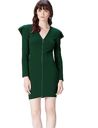 90615ee191bae FIND Kleid Damen mit Puffärmeln und Reißverschluss Grün (Pine Grove), 34  (Herstellergröße