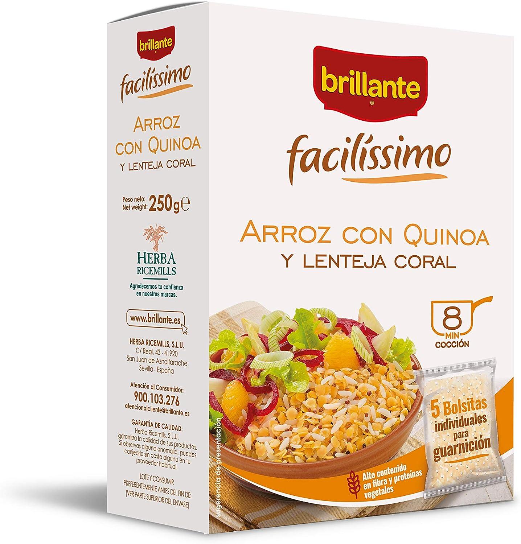 Brillante Facilissimo Arroz con Quinoa y Lentejas, 5 Bolsitas ...