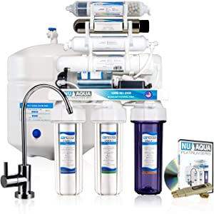 NU Aqua Platinum Series 100GPD Under Sink Reverse Osmosis Drinking Water Filtration System – Premium Water Filter (7 Stage UV and Alkaline With Pump)