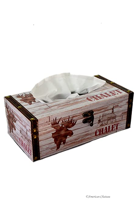 9 9 chalet cottage decor moose wood box kleenex dispenser tissue