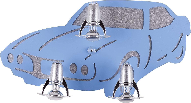 Coole Kinderleuchte in Blau 3x E14 bis 40 Watt 230V Wandleuchte Kinder aus Sperrholz Kunststoff & Metall mit Fahrzeug Motiv Kinderlampe für Schlafzimmer Kinderzimmer Lampen Leuchte innen Beleuchtung