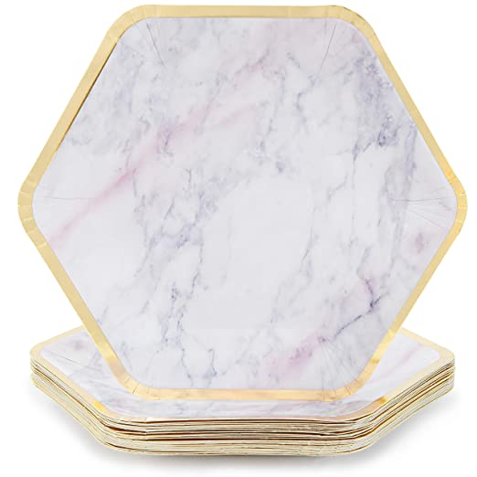 Platos desechables - 24 platos de papel, platos hexagonales ...