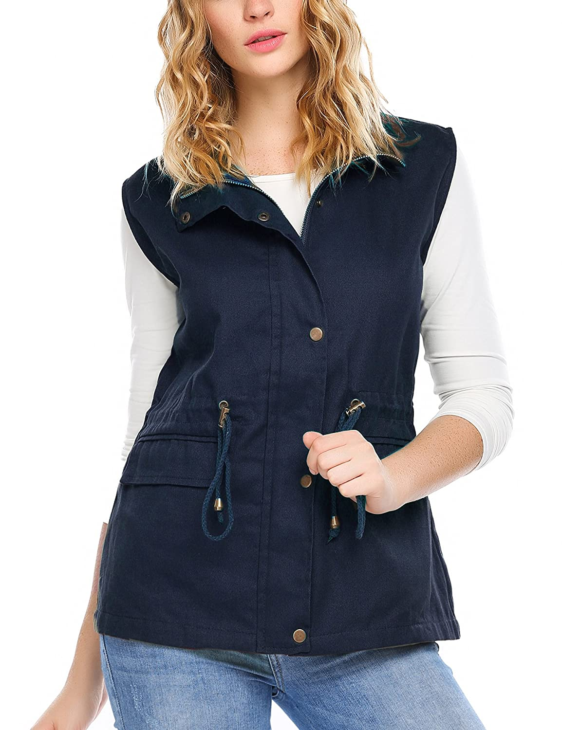 Zeagoo Womens Lightweight Sleeveless Military Safari Utililty Anorak Vest Navy Blue *ZTH022215_NB_L