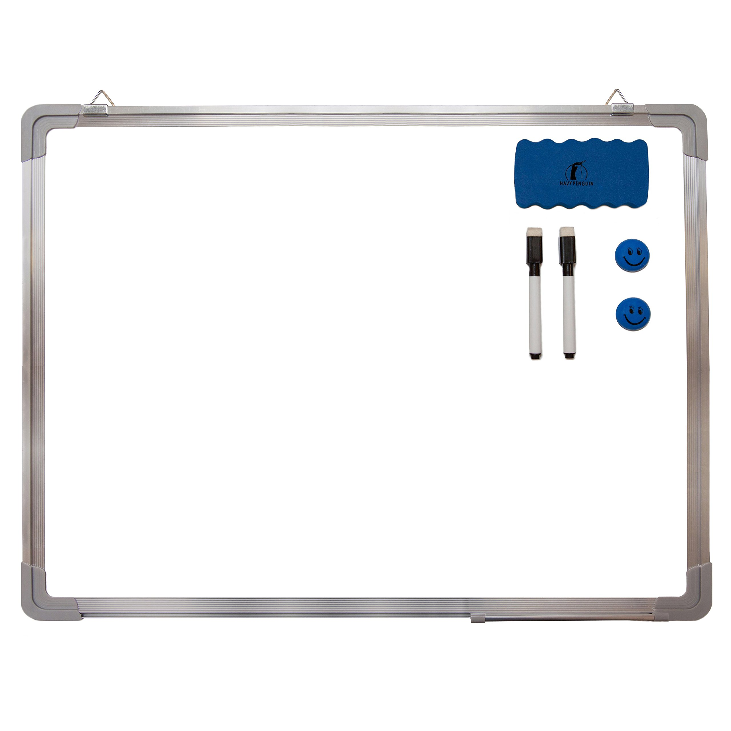 Whiteboard Set - Dry Erase Board 24 x 18'' + 1 Magnetic Dry Eraser, 2 Dry-Erase Black Marker Pens and 2 Magnets - Small White Hanging Message Scoreboard for Home Office School (24x18'' Landscape) by Navy Penguin