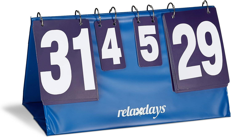 Relaxdays Marcador para Ping Pong, plástico Resistente, 25.7 x 48.6 x 25.5 cm, 1 Kg, Puntos 0-31, Sets 0-5, Color Azul, Unisex Adulto, Estándar