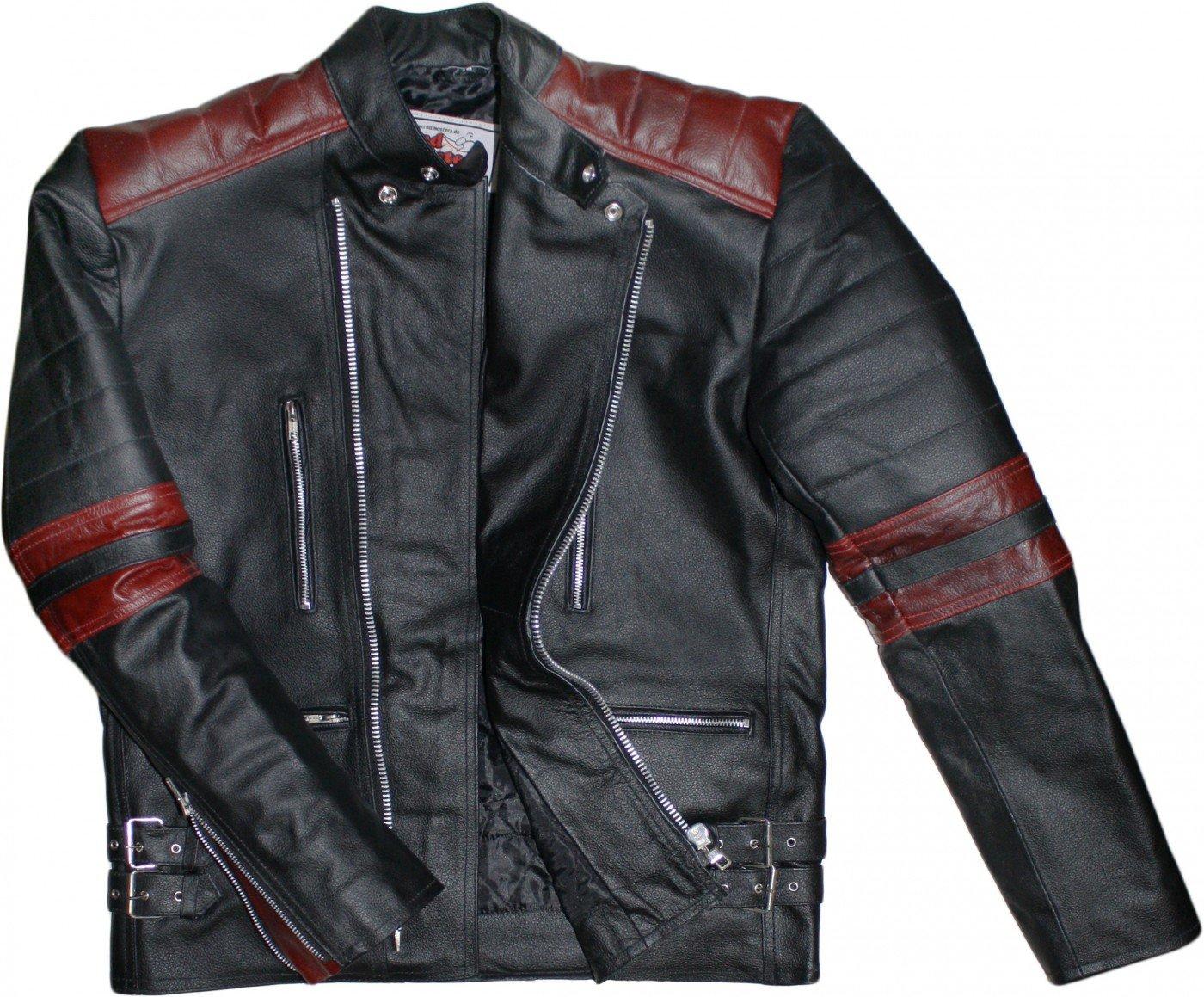 German Wear, giacca in pelle da motociclista, stile retrò stile retrò GW424J white Schwarz/Rot 48