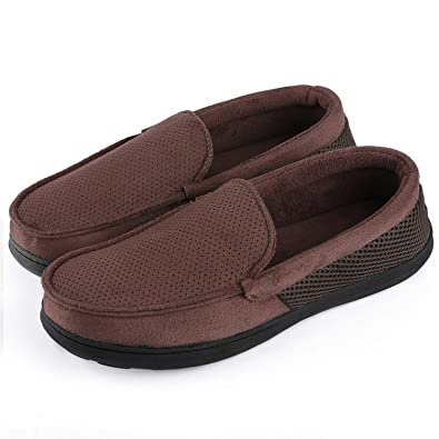 f3b94823e76b Men s Breathable Micro Suede Memory Foam Moccasins Slippers Plush Fleece  Indoor Outdoor Loafer Shoes w