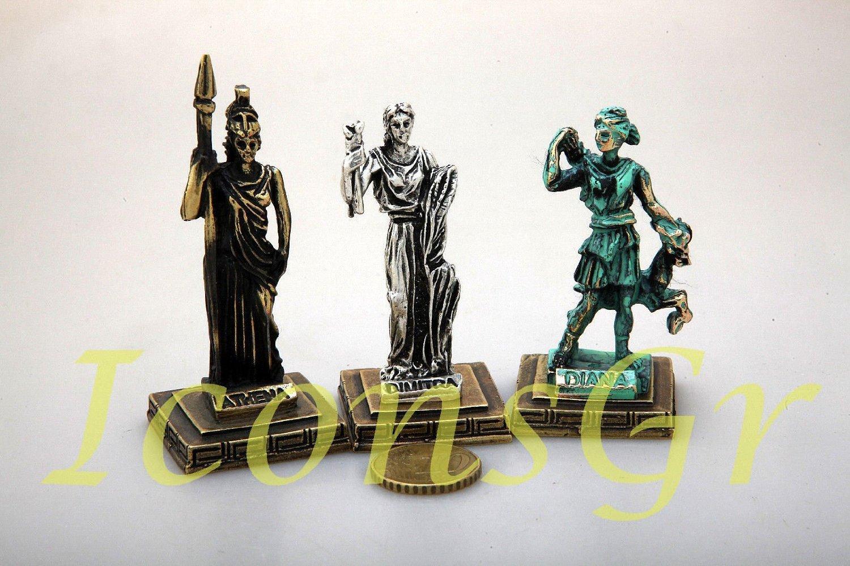 D/ém/ètre Diane Athena 3 x Zamac miniature statue de la Gr/èce antique repr/ésentant le Dieux de lOlympe