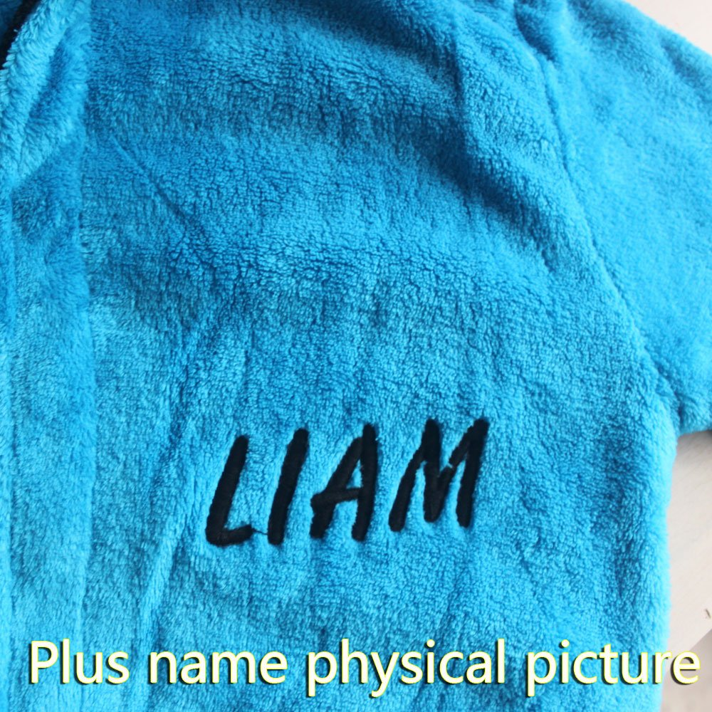 Blue Childrens Bath Robe Coral Cashmere Warm Boys Nightgown Embroidered Name FEETOO