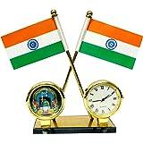 ManeKo Indian Flag with Quartz Watch & Muslim Islamic Makka Madina Frame for Car Dashboard & Official Purpose - Brass Coated Pipes