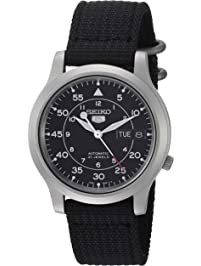 Seiko Men s SNK809 Seiko 5 Automatic Stainless Steel Watch with Black  Canvas Strap 21c7b56d2