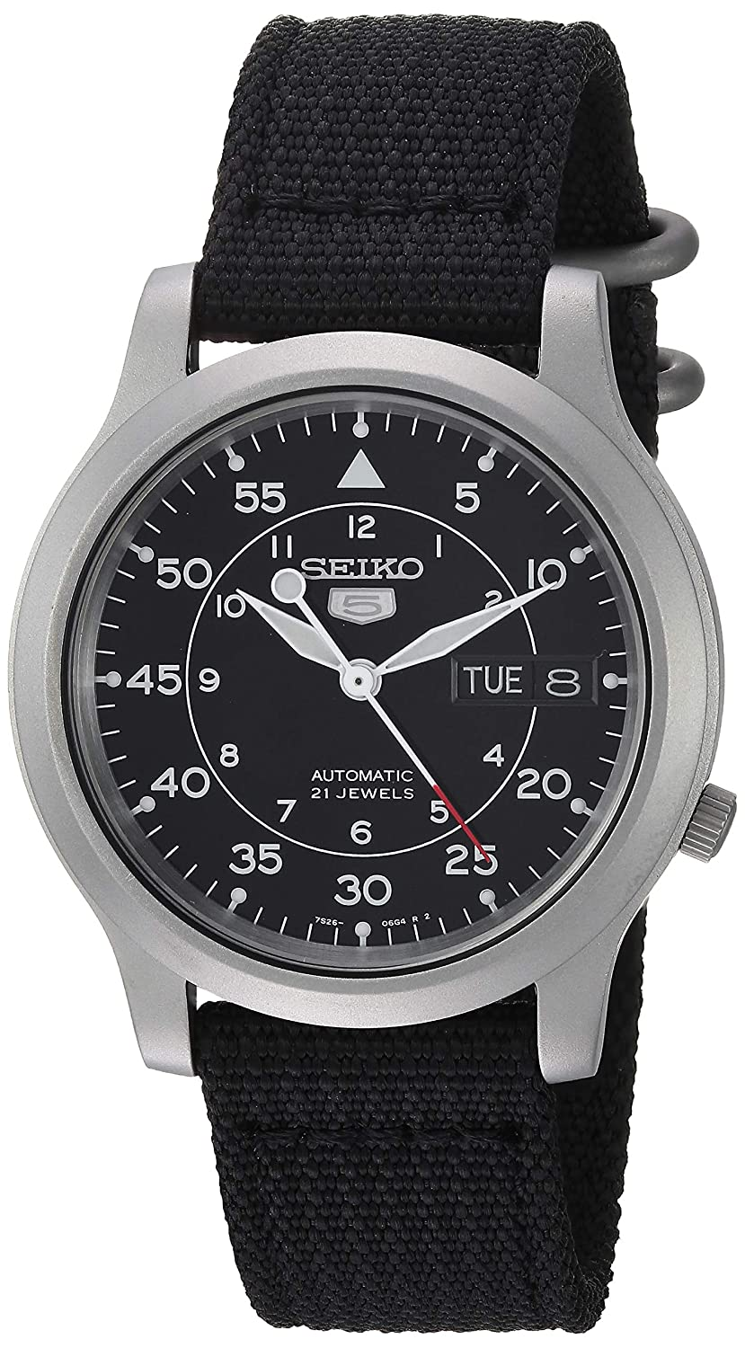 bb2a472c049 Seiko 5 Men s Automatic Watch with Black Dial Analogue Display and Black  Fabric Strap SNK809K2  Seiko  Amazon.co.uk  Watches